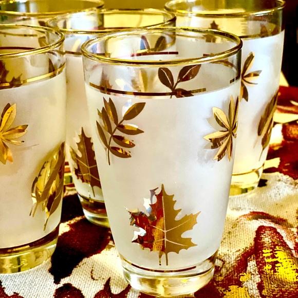 Vintage, frosted, gold leaf glasses